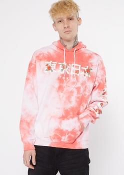 red tie dye kanji rose hoodie - Main Image