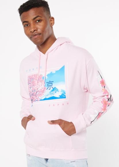 pink cherry blossom tokyo graphic hoodie - Main Image