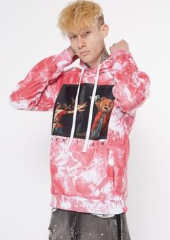 red tie dye money bear hoodie - Main Image