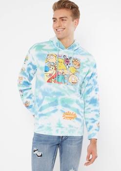blue tie dye nickelodeon crew graphic hoodie - Main Image