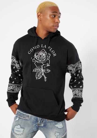 black como la flor selena bandana print sleeve graphic hoodie - Main Image