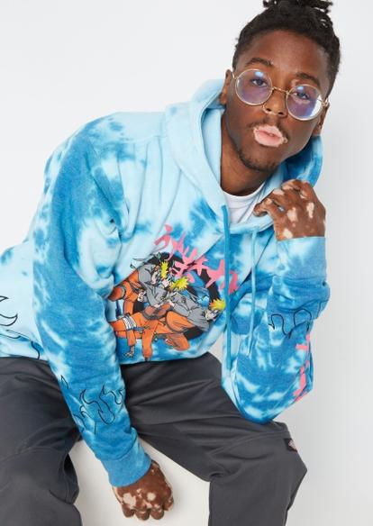 blue tie dye naruto flames graphic hoodie - Main Image