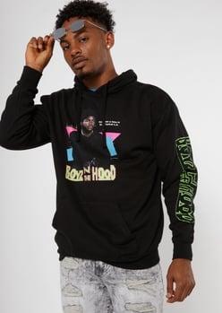 black retro neon boyz n the hood graphic hoodie - Main Image