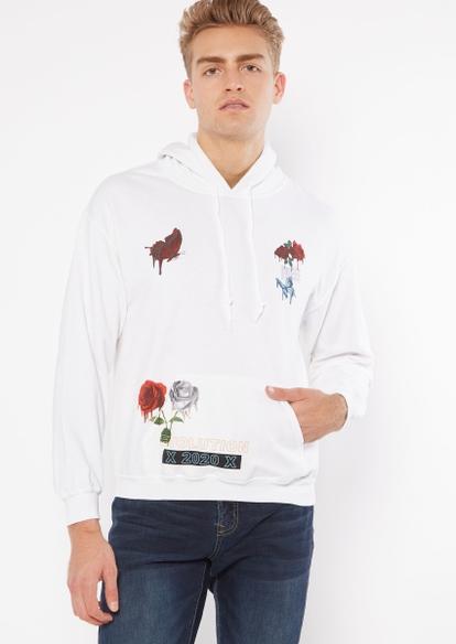 white drippy rose graphic hoodie - Main Image