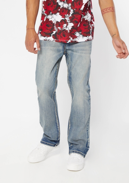 medium wash faded bootcut jeans - Main Image