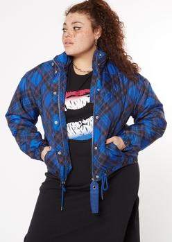 plus blue plaid print puffer jacket - Main Image