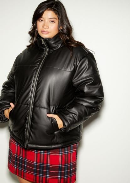 plus black funnel puffer jacket - Main Image