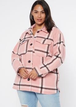 plus pink plaid wool shirt jacket - Main Image