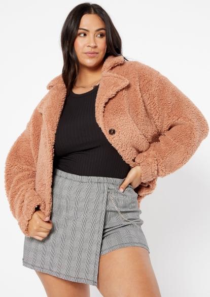 plus dark taupe sherpa teddy jacket - Main Image