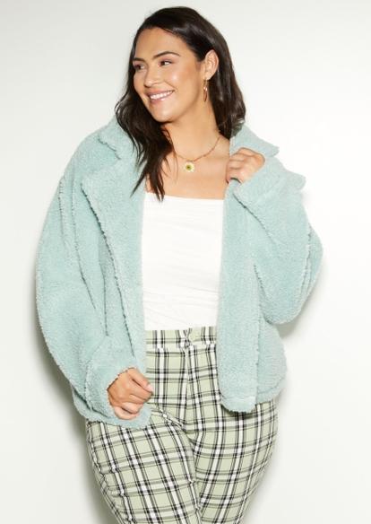 plus light green sherpa teddy jacket - Main Image