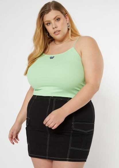 plus green butterfly embroidered bungee tank top - Main Image