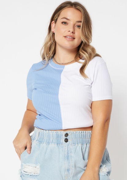 plus white baby blue two tone rolled sleeve boxy tee - Main Image