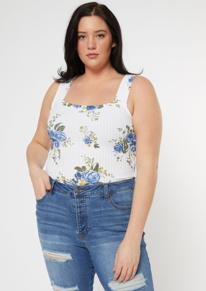 plus white floral print soft ribbed tank top - Main Image