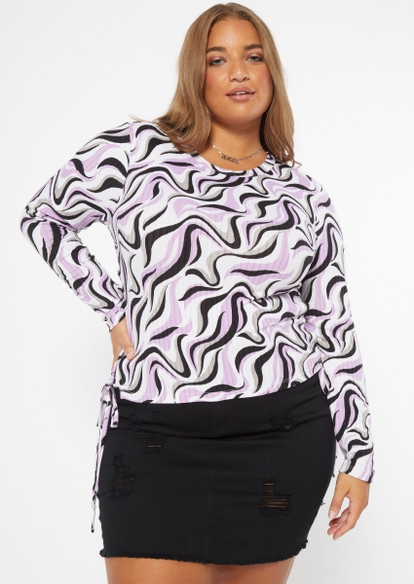 plus swirl print lace up side top - Main Image