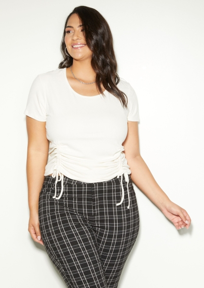 plus ivory double drawstring ruched side tee - Main Image