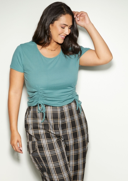 plus teal green double drawstring ruched side tee - Main Image