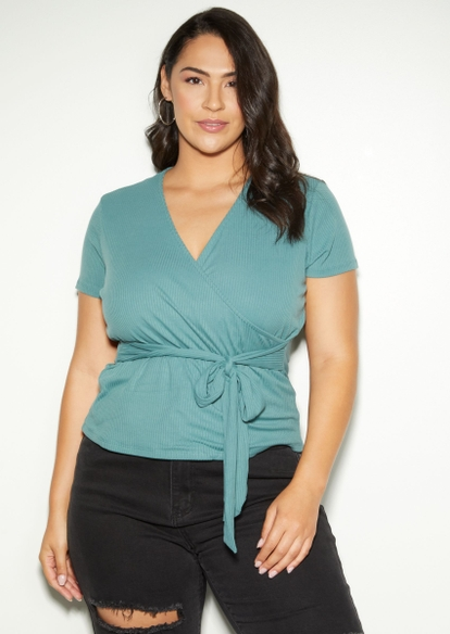 plus teal green super soft ribbed knit surplice top - Main Image