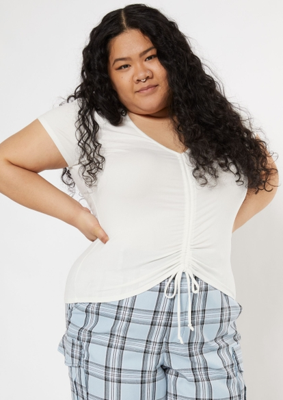 plus white ruched front crop top - Main Image