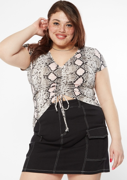 plus snakeskin print ruched front crop top - Main Image