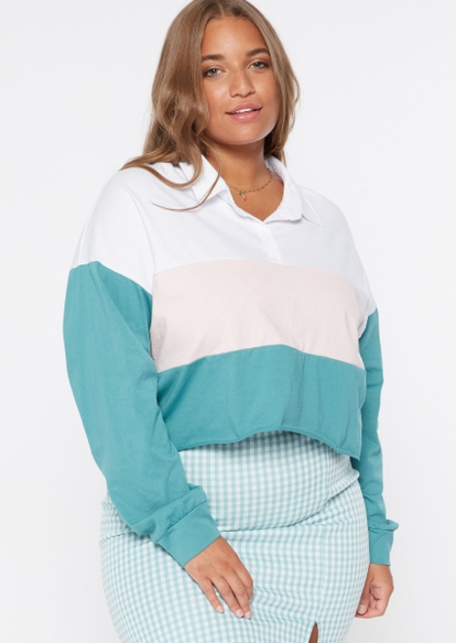 plus turquoise colorblock crop polo top - Main Image