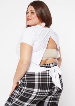 plus white super soft tie back tee - Main Image