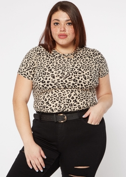plus leopard print super soft ribbed baby tee - Main Image