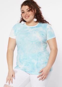 plus blue cloud tie dye super soft baby tee - Main Image