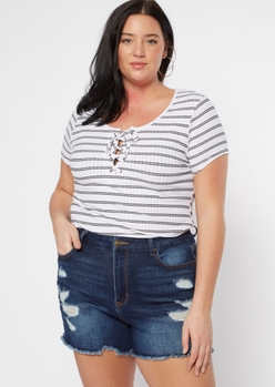 plus white stripe grommet lace up super soft ribbed knit tee - Main Image