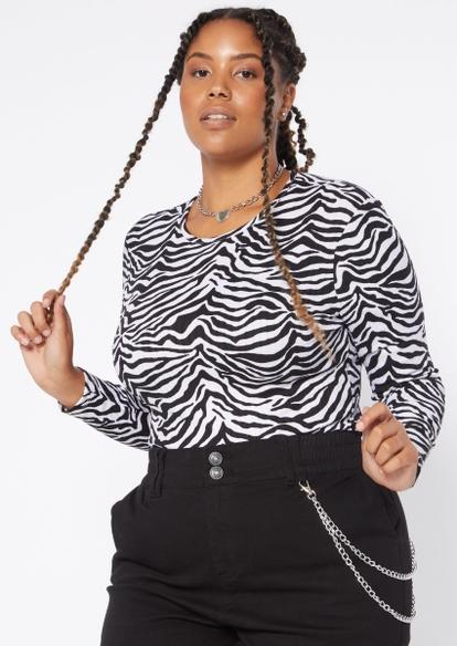 plus zebra print lace up back long sleeve tee - Main Image