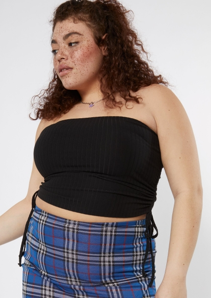plus black cinched side tube top - Main Image