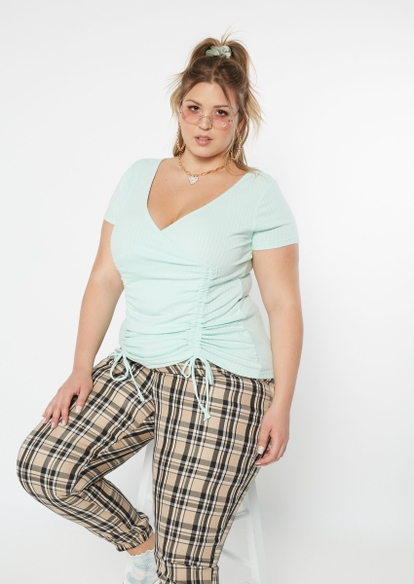 plus blue ribbed knit surplice double ruched top - Main Image