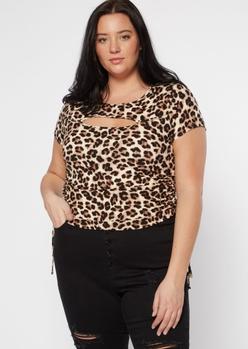 plus cheetah print super soft cutout cinch side tee - Main Image