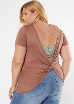plus brown twist back tee - Main Image
