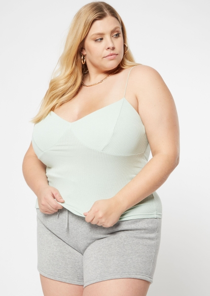 plus mint seamed ribbed knit cami - Main Image
