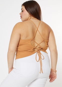 plus tan lace up back tank top - Main Image