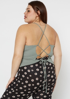 plus olive lace up back tank top - Main Image