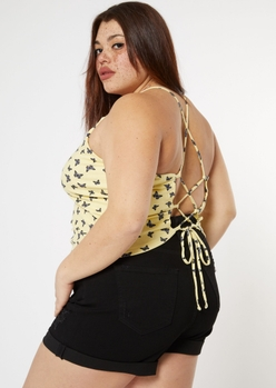plus yellow butterfly print lace up back tank top - Main Image