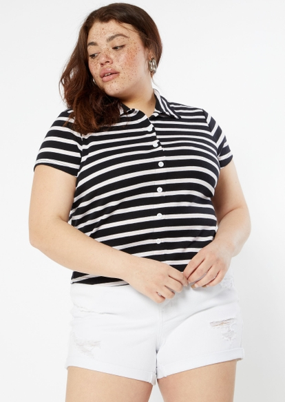 plus black striped full button front polo top - Main Image
