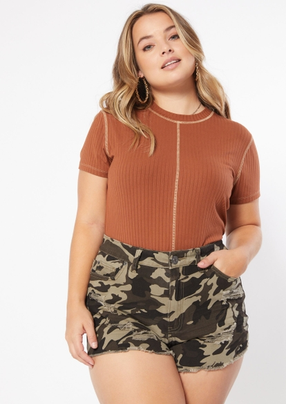 plus brown contrast stitch baby tee - Main Image