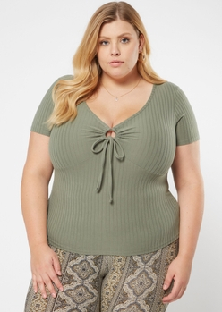 plus olive o ring cutout top - Main Image