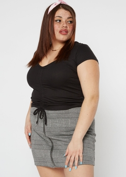 plus black ruched front ribbed knit top - Main Image