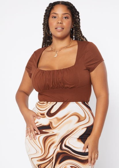 plus brown ruched bust top - Main Image
