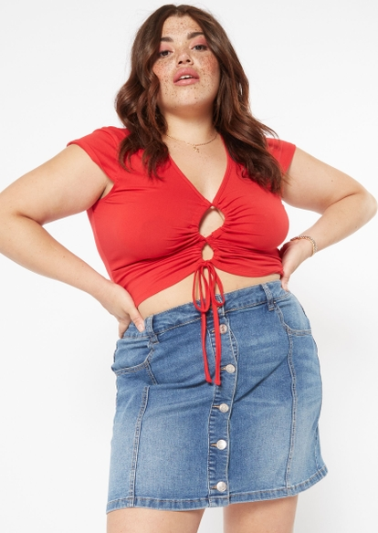 plus red lace up crisscross tie front top - Main Image