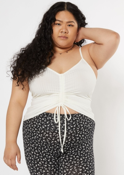plus ivory ruched front ribbed cami - Main Image