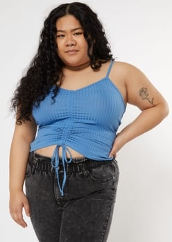 plus blue ruched front ribbed cami - Main Image