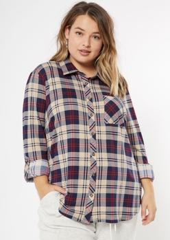 plus navy plaid roll tab button down shirt - Main Image