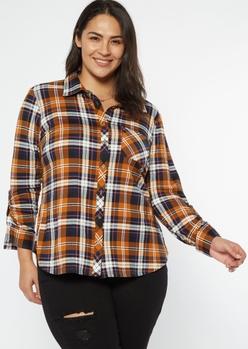 plus orange plaid roll tab button down shirt - Main Image