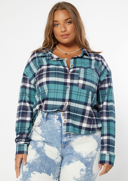 plus dark teal plaid super soft cropped button up top - Main Image
