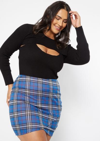 plus 2-piece black ribbed knit tank and shrug set - Main Image
