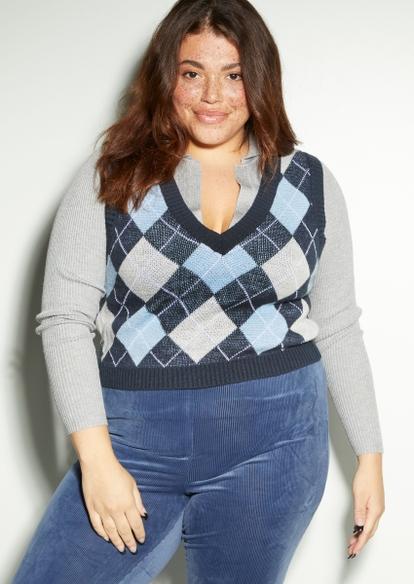 plus blue argyle print crop sweater vest - Main Image